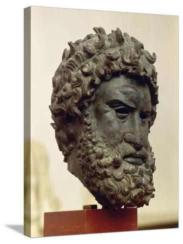 Bronze Portrait Head of Boxer Satyros of Elis--Stretched Canvas Print