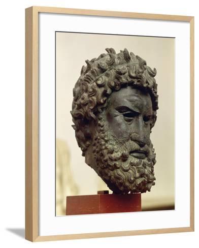 Bronze Portrait Head of Boxer Satyros of Elis--Framed Art Print