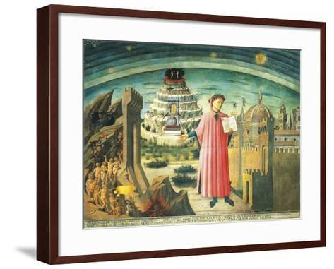Portrait of Dante Alighieri, Florence and the Allegory of the Divine Comedy--Framed Art Print