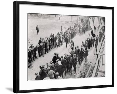 Arriving in Valence, 2nd Stage of the First Tour De France, from 'Le Monde Illustre'--Framed Art Print