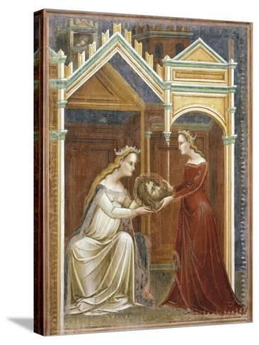 Salome Offering the Head of John the Baptist to Her Mother Herodius, C.1350-60--Stretched Canvas Print