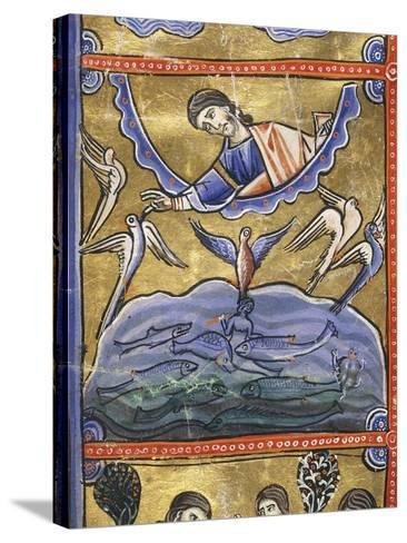 The Book of Genesis: the Creation of the Birds and Fish, Miniature from the Bible of Souvigny--Stretched Canvas Print