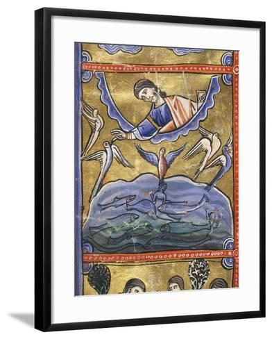 The Book of Genesis: the Creation of the Birds and Fish, Miniature from the Bible of Souvigny--Framed Art Print