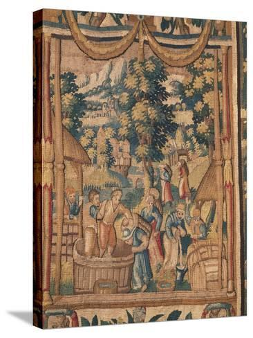Crushing Grapes, Flemish Tapestry, End of 16th Century, Manufacture of Brussels--Stretched Canvas Print