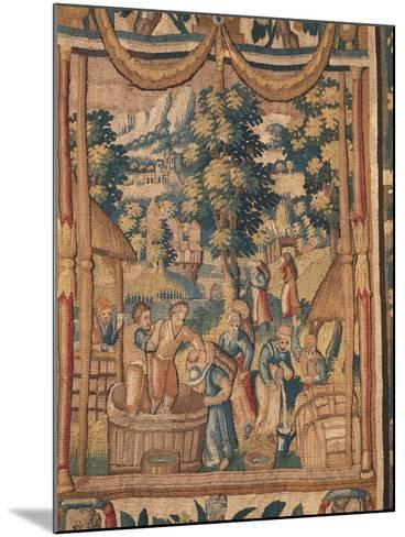 Crushing Grapes, Flemish Tapestry, End of 16th Century, Manufacture of Brussels--Mounted Giclee Print