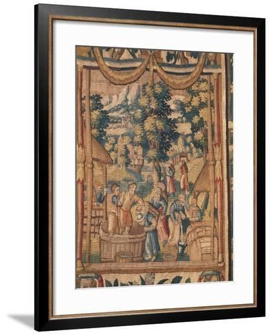 Crushing Grapes, Flemish Tapestry, End of 16th Century, Manufacture of Brussels--Framed Art Print