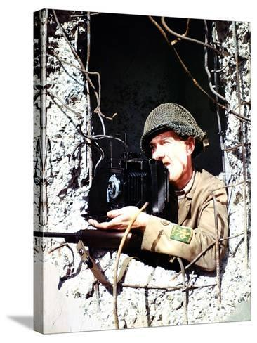 United States Signal Corps Photographer B. Bacon Inside a German Pillbox, Normandy, France--Stretched Canvas Print