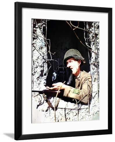 United States Signal Corps Photographer B. Bacon Inside a German Pillbox, Normandy, France--Framed Art Print