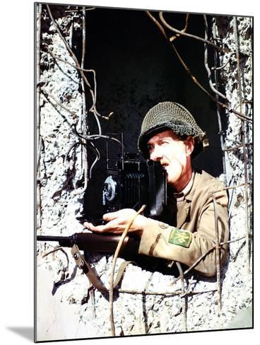 United States Signal Corps Photographer B. Bacon Inside a German Pillbox, Normandy, France--Mounted Photographic Print
