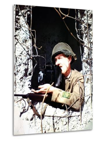 United States Signal Corps Photographer B. Bacon Inside a German Pillbox, Normandy, France--Metal Print