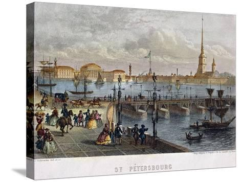 Russia, Saint Petersburg, Painting of the Troizkoi Bridge on Neva River--Stretched Canvas Print
