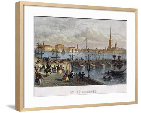 Russia, Saint Petersburg, Painting of the Troizkoi Bridge on Neva River--Framed Art Print