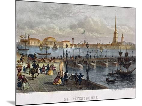 Russia, Saint Petersburg, Painting of the Troizkoi Bridge on Neva River--Mounted Giclee Print
