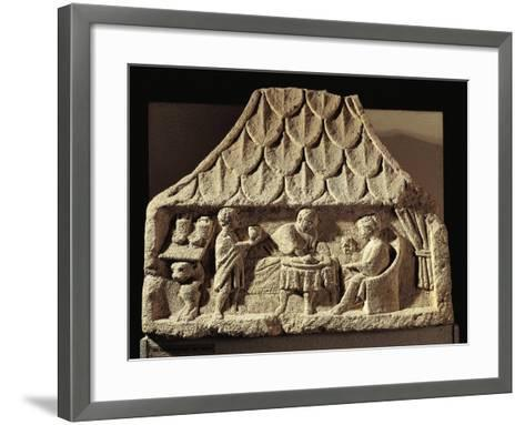 Relief Depicting a Meal Scene in a House--Framed Art Print