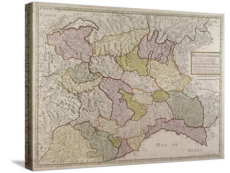 Map of North-Western Italy and Savoy--Stretched Canvas Print
