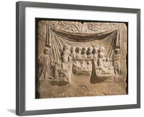 Relief on Cippus Depicting Feast, Guests are Lying on Triclinium Couches in Front of Tent--Framed Art Print