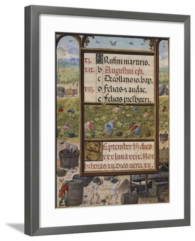 The Month of September, Miniature from the Book of Hours, Portugal 14th Century--Framed Art Print