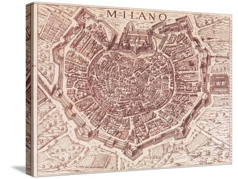 Italy, Map of Milan in 1600--Stretched Canvas Print