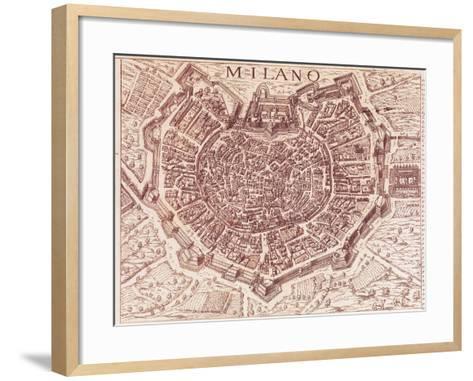 Italy, Map of Milan in 1600--Framed Art Print
