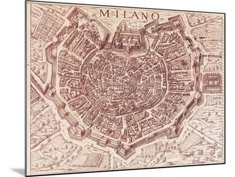 Italy, Map of Milan in 1600--Mounted Giclee Print