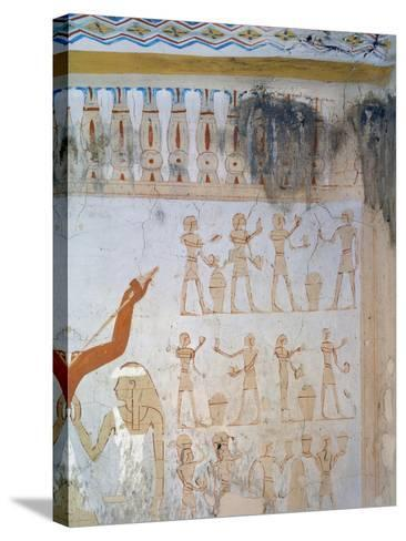 Egypt, Luxor, Tomb of Royal Cupbearer Suemnut, Mural Paintings, Votive Offerings--Stretched Canvas Print