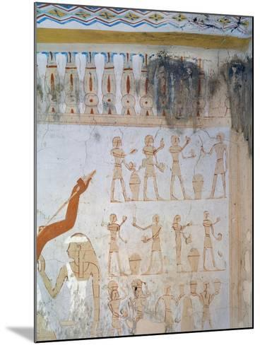 Egypt, Luxor, Tomb of Royal Cupbearer Suemnut, Mural Paintings, Votive Offerings--Mounted Giclee Print