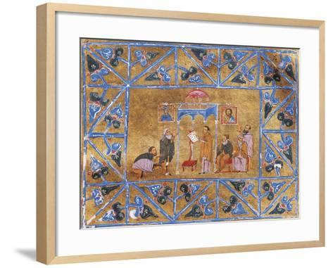 Monks Praying in Church, Miniature from Byzantine Manuscript, Greek Code 418 Folio 269--Framed Art Print