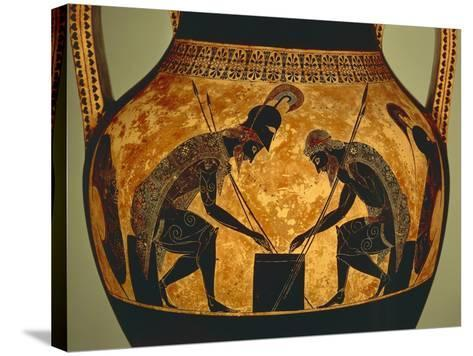 Attic Vase of Exekias Depicting Achilles and Ajax Playing Dice, Detail--Stretched Canvas Print