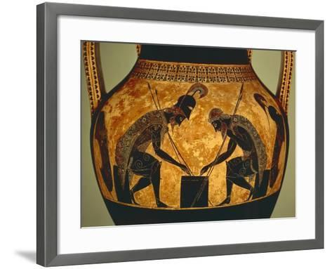 Attic Vase of Exekias Depicting Achilles and Ajax Playing Dice, Detail--Framed Art Print