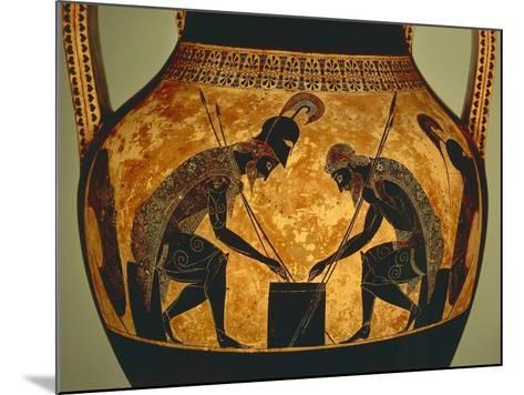 Attic Vase of Exekias Depicting Achilles and Ajax Playing Dice, Detail--Mounted Giclee Print