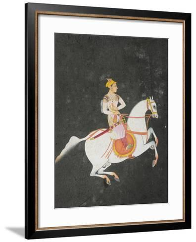 Portrait of Kunwar Baharat Singh on Horse-Back, Inscribed on Top and Reverse in Devanagari, 1680--Framed Art Print