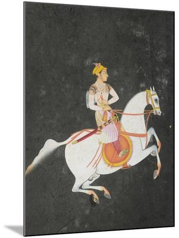 Portrait of Kunwar Baharat Singh on Horse-Back, Inscribed on Top and Reverse in Devanagari, 1680--Mounted Giclee Print