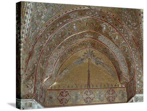 Mosaic Depicting Peacocks, Geometric and Vegetal Motifs, King Roger's Room--Stretched Canvas Print