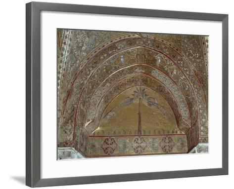 Mosaic Depicting Peacocks, Geometric and Vegetal Motifs, King Roger's Room--Framed Art Print