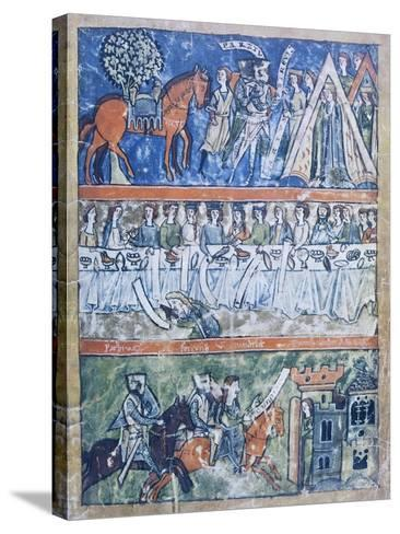 Miniature Depicting Three Scenes of a Knight's Life from Perceval or the Story of the Grail--Stretched Canvas Print