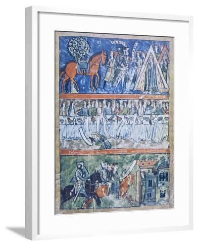 Miniature Depicting Three Scenes of a Knight's Life from Perceval or the Story of the Grail--Framed Art Print