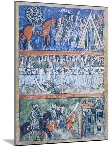 Miniature Depicting Three Scenes of a Knight's Life from Perceval or the Story of the Grail--Mounted Giclee Print