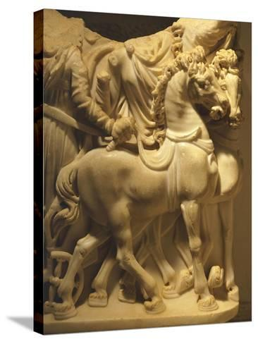 Detail of Marble Sarcophagus Depicting Pair of Horses, from Algeria--Stretched Canvas Print