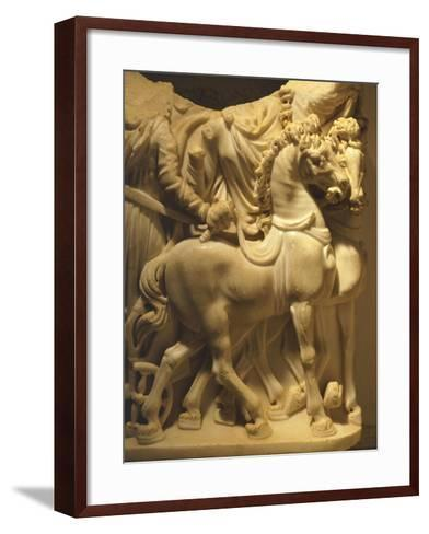 Detail of Marble Sarcophagus Depicting Pair of Horses, from Algeria--Framed Art Print