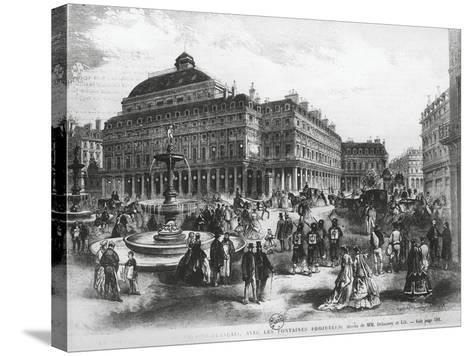 La Place Du Theatre-Francais with Comedie Francaise Building, C.1852-70--Stretched Canvas Print