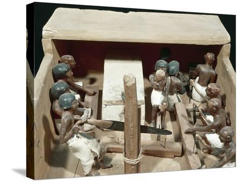 Wooden Model Representing Carpenter's Workshop--Stretched Canvas Print
