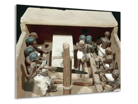 Wooden Model Representing Carpenter's Workshop--Metal Print