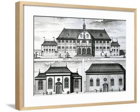 Portuguese Church and Town Hall in Batavia, 19th Century--Framed Art Print