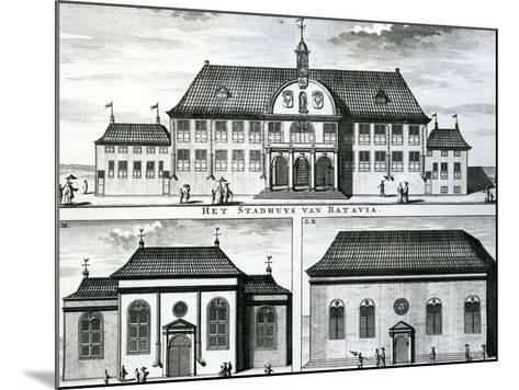 Portuguese Church and Town Hall in Batavia, 19th Century--Mounted Giclee Print