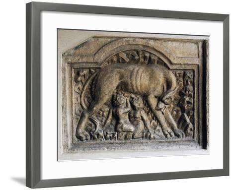 Roman Relief of She-Wolf and Twins, Church of Maria Saal, Klagenfurt, Austria, 1st-2nd Century--Framed Art Print