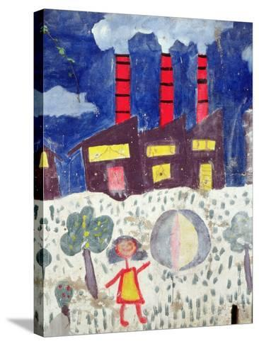 Children's Painting of Poble Sec Power Station on a Street Wall--Stretched Canvas Print