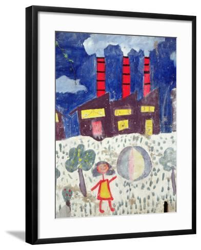 Children's Painting of Poble Sec Power Station on a Street Wall--Framed Art Print