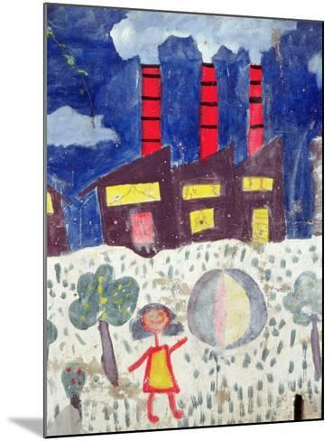Children's Painting of Poble Sec Power Station on a Street Wall--Mounted Giclee Print
