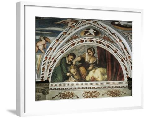 Story of Judith and Holofernes, Detail of Frescoes by Girolamo Romanino--Framed Art Print