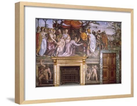 Dario's Mother Begging Alexander the Great and Vulcan at Forge with Cupids--Framed Art Print
